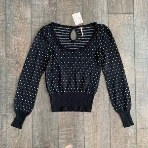 Free People Polka Dot Knit Keyhole Sweater
